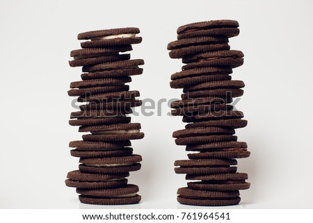 chocolate cookies stacked served milk brown snack