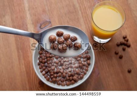 Chocolate cornflakes with milk - stock photo