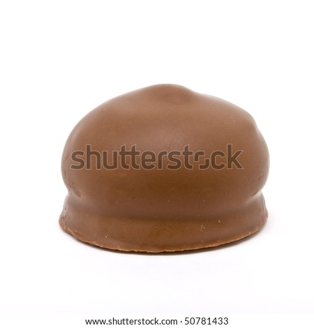 Chocolate covered Marshmallow from low viewpoint isolated against white.