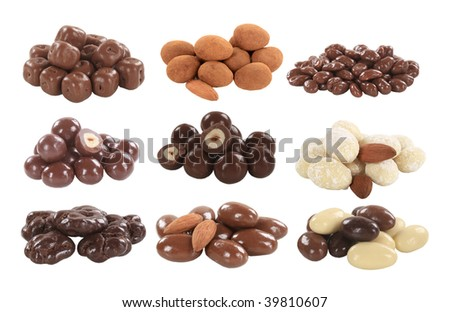 Chocolate covered nuts and fruit - stock photo