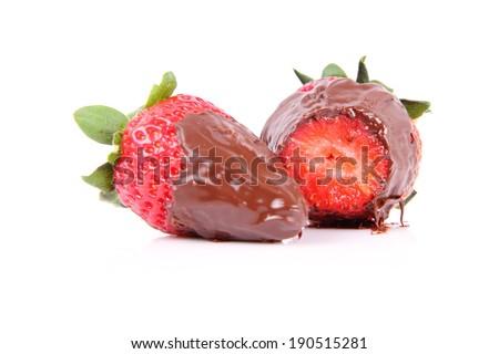 Chocolate covered strawberries - stock photo