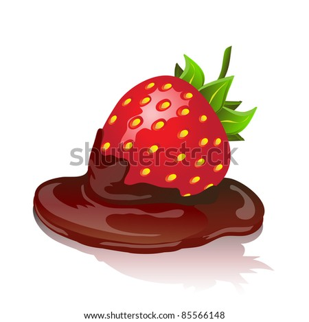 Chocolate covered strawberry with shadow on white background. Also available in vector format. - stock photo