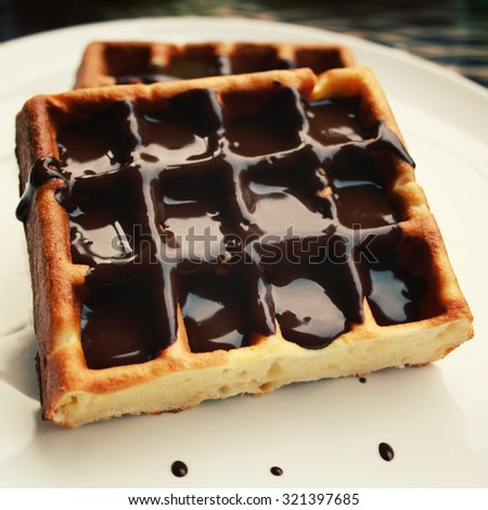 Chocolate covered Vienna Waffles on the white plate. Vintage photo. Viennese Waffles covered with chocolate topping.