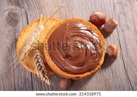 chocolate cream and bread - stock photo