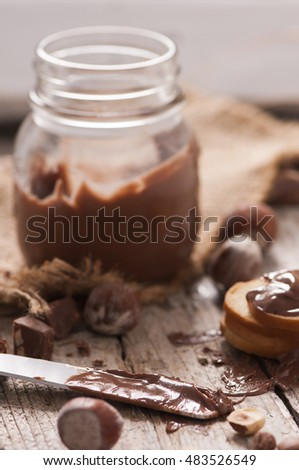 Chocolate cream and nuts. Chocolate spread