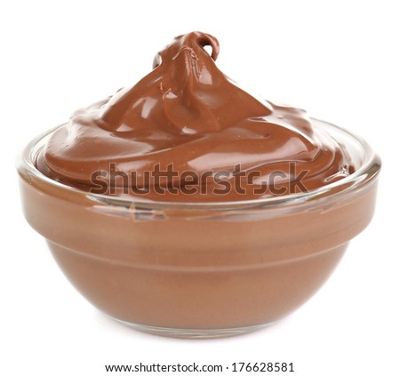 Chocolate cream in bowl isolated on white - stock photo