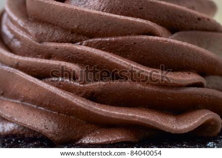 Chocolate cream layered mousse close-up - stock photo