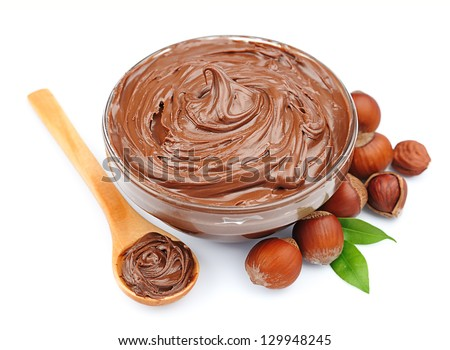 chocolate cream with  hazelnuts isolated on white - stock photo