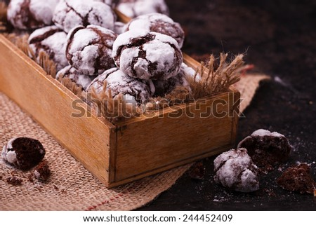 Chocolate Crinkles. Chocolate cookies in powdered sugar. - stock photo