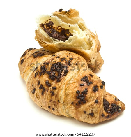 Chocolate Croissant French Pastry isolated against white background. - stock photo