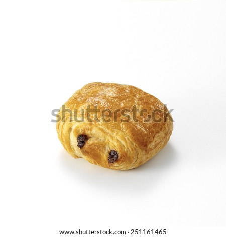 Chocolate croissant, isolated on a white background. - stock photo