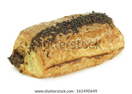 Chocolate croissant isolated on white