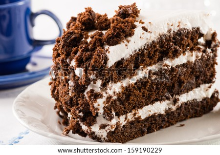 Chocolate crumb layer cake with white icing