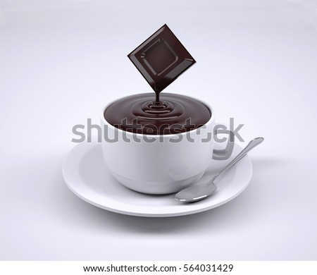 Chocolate Cup With Spoon Isolated On White Background 3d Ilration