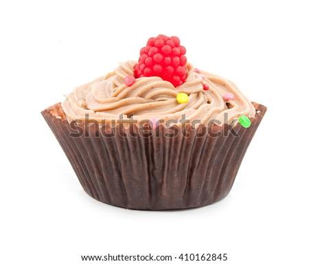 chocolate cupcake isolated on white - stock photo