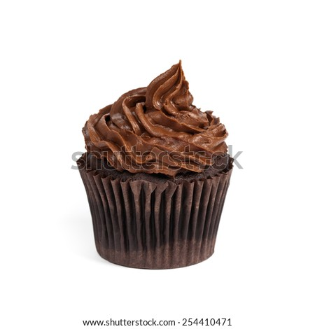 Chocolate Cupcake isolated on white background. Selective focus. - stock photo