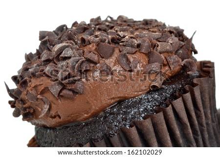 chocolate cupcake isolated white background - stock photo