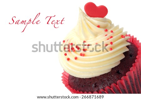 Chocolate cupcake on a white background. Red hearts for love valentine. - stock photo