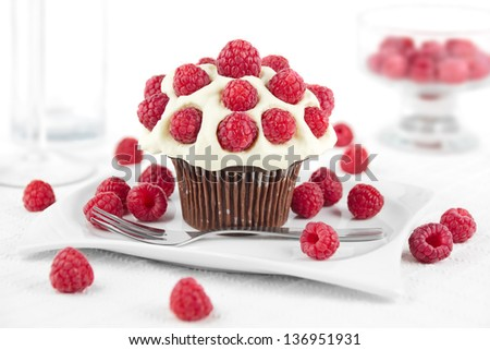 Chocolate cupcake topped with whipped cream and raspberries on a plate - stock photo