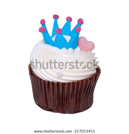 Chocolate cupcake  white cream with blue crown on a white background pink heart for love. - stock photo