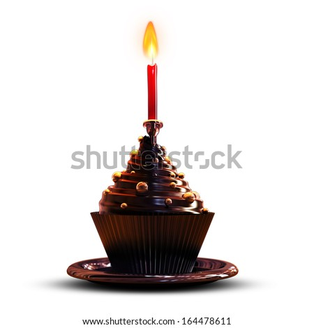 Chocolate cupcake with candle isolated on white background High resolution 3d