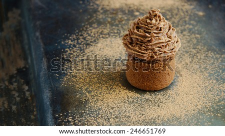Chocolate cupcake with chocolate cream cheese cream