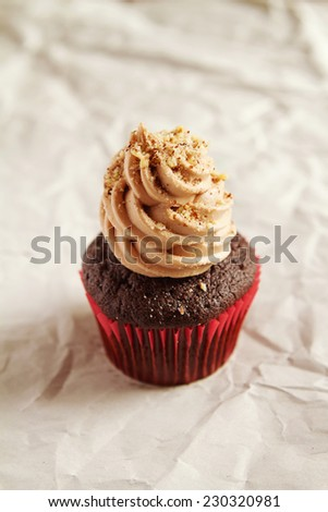 Chocolate cupcake with coffee icing hazelnut sprinkles with clear space - stock photo