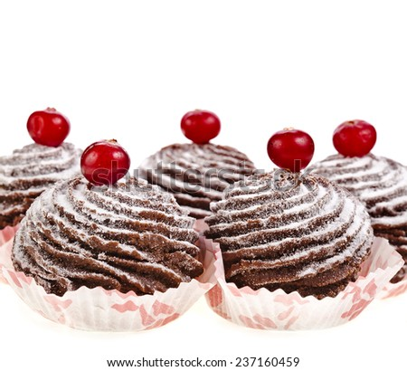 chocolate cupcake with fresh berries isolated on a white background - stock photo