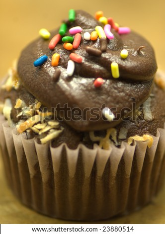 Chocolate cupcake with sprinkles - stock photo