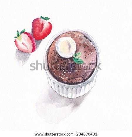 Chocolate cupcake with vanilla ice-cream and strawberries - stock photo
