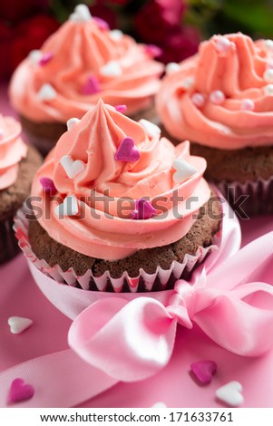 chocolate cupcakes for valentines day - stock photo