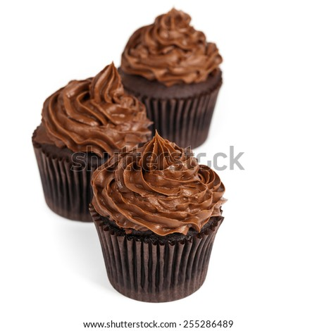 Chocolate Cupcakes isolated on white background. Selective focus. - stock photo