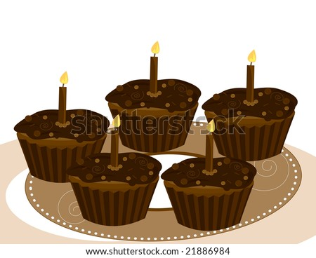 Chocolate  cupcakes on a white background- jpg version