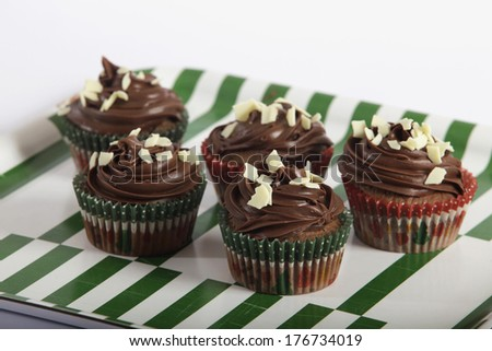 Chocolate cupcakes on tray