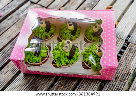 Chocolate cupcakes with green frosting in the cupcake box
