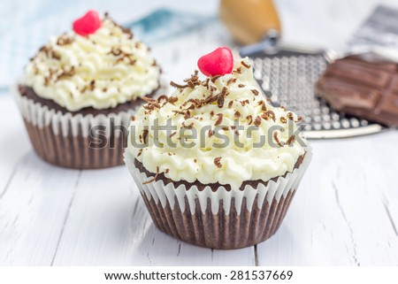 Chocolate cupcakes with ricotta cheese frosting - stock photo