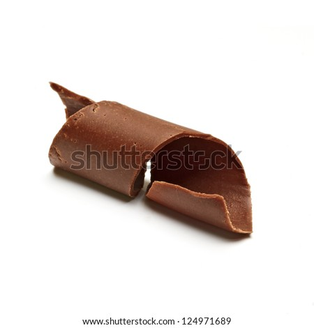 Chocolate Curl on white background - stock photo