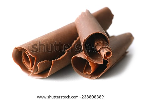 Chocolate curls isolated on white - stock photo