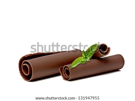 Chocolate Curls with Fresh Mint On White Background - stock photo