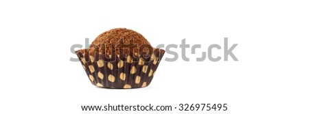 Chocolate Deserts. Chocolate Cocoa Honey Balls on white background. Macro with extremely shallow dof. Panoramic image. Selective focus. - stock photo