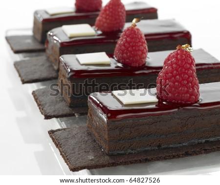 Chocolate dessert in a row - stock photo