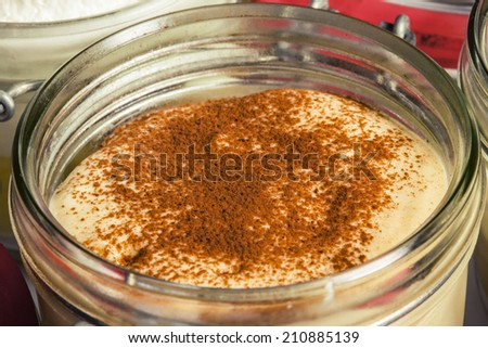 Chocolate dessert in jar - stock photo