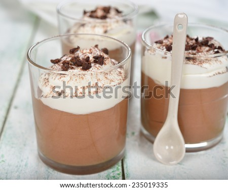 Chocolate dessert with whipped cream on a white background - stock photo