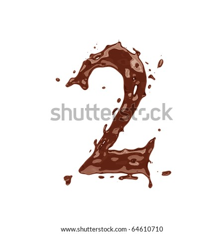 Chocolate digit 2 isolated on white background - stock photo