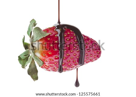 Chocolate dip on strawberry isolated on - stock photo