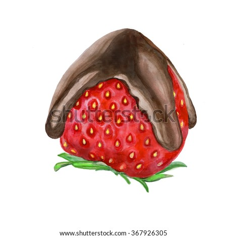 Chocolate dipped strawberries at dessert bar. Colorful watercolor painting of fresh strawberry under dark chocolate topping.  Delicious juicy berry. Greeting card design. Add your text for any event - stock photo