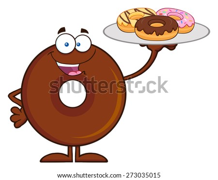 Chocolate Donut Cartoon Character Serving Donuts. Raster Illustration Isolated On White - stock photo