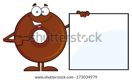 Chocolate Donut Cartoon Character Showing A Blank Sign. Raster Illustration Isolated On White - stock photo