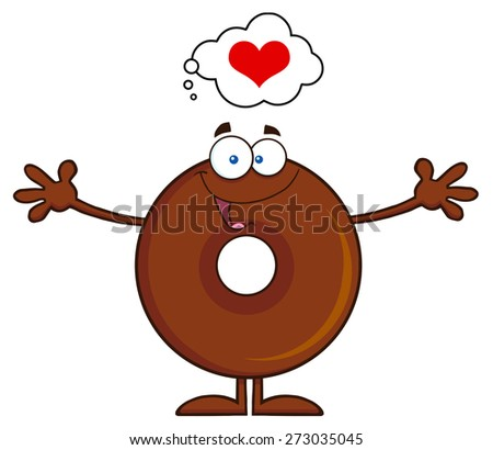 Chocolate Donut Cartoon Character Thinking Of Love And Wanting A Hug. Raster Illustration Isolated On White - stock photo