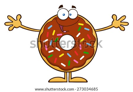 Chocolate Donut Cartoon Character With Sprinkles Wanting A Hug. Raster Illustration Isolated On White - stock photo